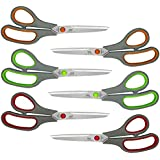 W.A. Portman Multi-Purpose 8 inch Comfort Grip Scissors Heavy Duty Commercial Grade Stainless Steel Blades for Home and Office in Three Colors with Soft Grip (6 Pack)