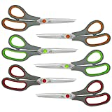 W.A. Portman Scissors Multi Pack | 6 Pairs All-Purpose Adult & Kid Sharp Scissors for Office, School, Art & Craft Supplies, Home, Kitchen, Fabric, Cardboards, Travel & General Use | 3 Colors, 8-inch