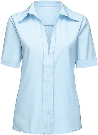 Loolik Blusa de Mujer Camisa de Manga Larga para Mujer Formal Oficina Trabajo Uniforme Señoras Casual Tops para Mujer Camisetas de Solapa de Moda para Mujer Shirt Moda Manga Corta (Azul Claro,