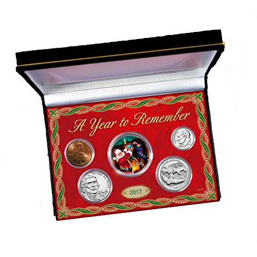 American Coin Treasures Colorized Santa JFK Half Dollar and 2017 Penny, Nickel, Dime and Quarter Coin Set in Display Box