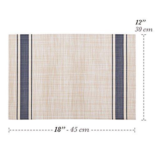 Elegant Placemat Set. Pack of 4 Italian Design Placemats (Blue)