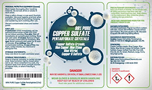 99 Pure Copper Sulfate Pentahydrate Crystals 2 Lb Buy