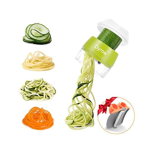 Dyroe Spiralizzatore di Verdure,Tagliapasta per Verdure, 4 in1 Affetta Verdure Spaghetti Multifunzione affetta Verdure… 1
