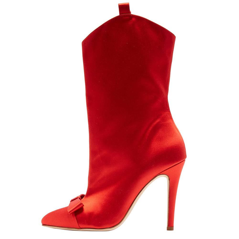 rouge SYYAN Femmes Tissu de Sardine Pointu Arc Talon Haut Tube du Milieu Bottes Rouge Noir Rose