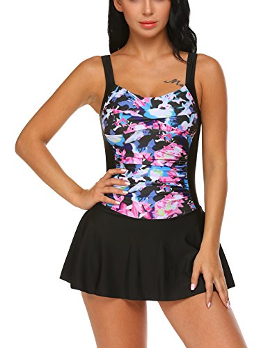 Ekouaer Swim Dress Tummy Control Swimwear One Piece Swimsuit Flared Skirt Women(Black (Control Swim Dress)
