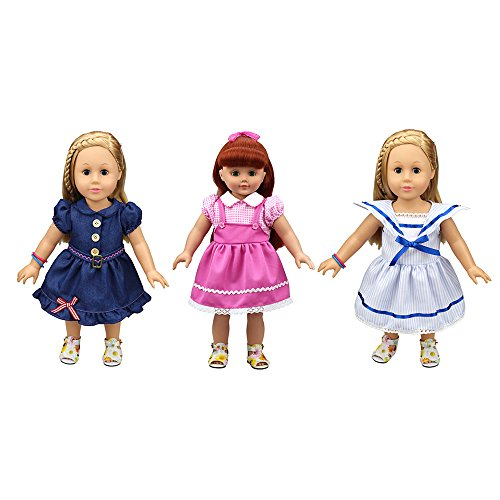 Banne Park Rids 3 Sets Simulation Cotton Pyjamas New Bitty Princess Party Baby Doll's Clothes For 18 Inch American (Princess Peach Costume Toddler)