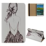 Daminfe Galaxy Tab S 8.4 T700 T705 Case,Fashion Leaf Eiffel Tower Big Ben Love Heart Girl Liberty Leather Wallet Flip Protective Skin Case For Samsung Galaxy Tab S 8.4 Tablet Sm-T700 Sm-T705 with Band
