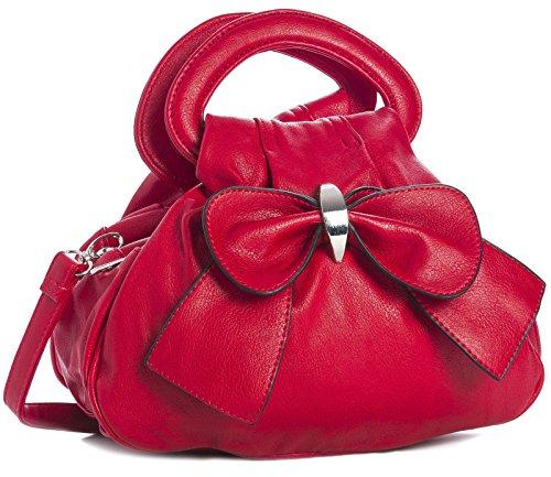 BHBS Bolso Pequeño con Múltiples Bolsillos con Cremalleras y Detalle de Lazo Grande en el Frente 24x22x13 cm (LxAxP) Rojo