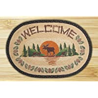 Earth Rugs 90-625 Moose Welcome Design Oval Rug, 20 by 30, Braided, Charcoal/Natural