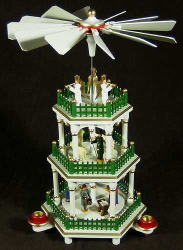 Dregano Christmas Pyramid White Color Carousel 3 Level