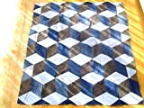 tumbling blocks quilt Denim tumbling blocks quilt, cube quilt, handmade blanket