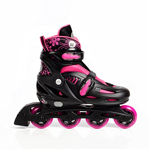 High Bounce Rollerblades Adjustable Inline Skate (Pink, Large (6-9) ABEC 7)