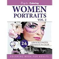 Women Portraits Grayscale Coloring for Adults: 2