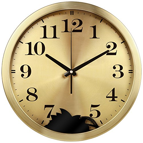 Clock Sydney Square (Imoerjia Metal Hotel, Lobby Front Desk Luxurious Wall Clock World Time Zones Mute Creative Clock Quartz Clock, 12 Inch, Sydney)