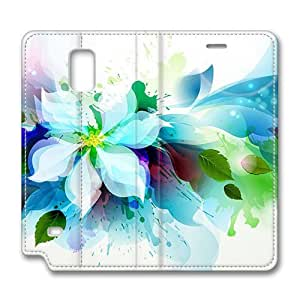 Brain114 Fashion Style Case Design Flip Folio PU Leather Cover Standup Cover Case with Abstract Flower 2 Pattern Skin Samsung Galaxy Note4