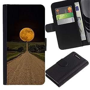 For Sony Xperia Z1 Compact / Z1 Mini / D5503,S-type® Road Hope Black Night Field - Dibujo PU billetera de cuero Funda Case Caso de la piel de la bolsa protectora