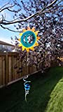 Moonrise Wind Spinner By UpBlend Outdoors - Unique & Beautiful Design - Decorative Metal Outdoor Whirligig For Garden, Porch, Patio - Windspinner w/ Tail (Spiral Holding A Glass Ball) Light Blue