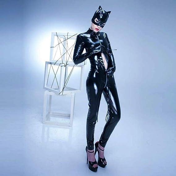 Mujer Cuero Catsuit Manga Larga Apariencia de l/átex Mono Catwoman Disfraz Fiesta Traje Ajustado Negro
