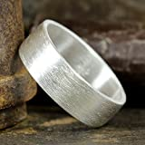 7mm Wedding Band 925 Sterling Silver Wire Brushed Mens Women Unisex Flat Pipe Cut Thick Handmade Ring - FREE Engraving
