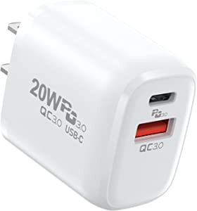 USB C Charger,20W Dual-Port PD Fast Charging Head,Wall Charger Support Quick Charge 3.0,for All USB Devices & iPhone Devices