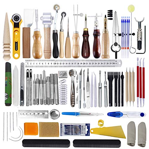 Edger Punch Wing - Barbella 60 Pieces Leather Craft Hand Tool Including Stitching Groover Basic Hand Stitching Sewing Tool Set Saddle Groover Leather Craft DIY Tool [Valentine's Day Gift]