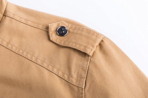 Jacket Yyzyy Trucker Estate Primavera beige Autunno Uomo Cotone Bomber 2701 Lunga Militare khaki Classico Military Giacche Mens Leggero Cotton Manica 1wrqx0g1