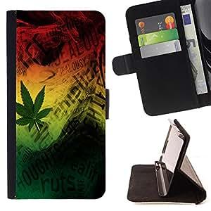 King Art - Premium-PU-Leder-Prima caja de la PU billetera de cuero con ranuras para tarjetas, efectivo Compartimiento desmontable y correa para la mu?eca FOR Samsung GALAXY G850 SM-G850F G850Y G850M- 420 Weed weed Marijuana Kush Weed