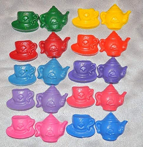 Total 40 Crayons. Tea Pot and Tea Cup Party Favors Recycled Crayons And Stickers //20 Tea Set Crayons and 20 Stickers
