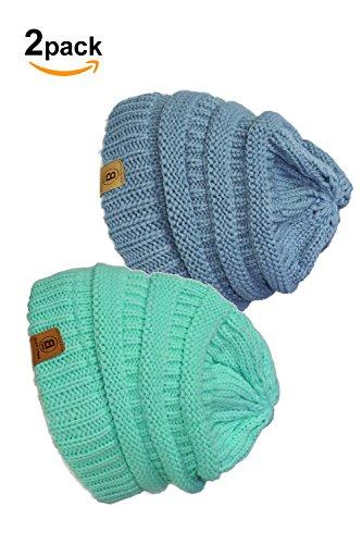Basico Unisex Adult Warm Chunky Soft Stretch Cable Knit Beanie Cap Hat (101 2pk Mermaid/Carolina Blue) Chunky Cable Hat