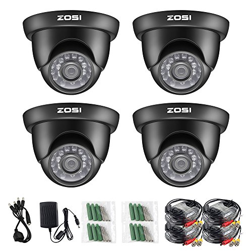 ZOSI 4 Pack 1/3″ 1000TVL 960H High Resolution Security Surveillance Cctv Camera Kit Hd Had Ir Cut 3.6mm Lens Outdoor Dome Weatherproof