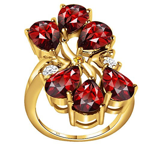 (925 Sterling Silver Ring, Yellow Gold Overlay Pear Shaped Natural Garnet Ring Band for Women, Cluster Ring, Wedding & Engagement Rings, January Birthstone Ring, Perfect for Mother Day, Birthday)