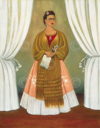 Self Portrait Dedicated to Leon Trotsky 1937 Frida Kahlo Woman People Spanish Print Poster 26x32