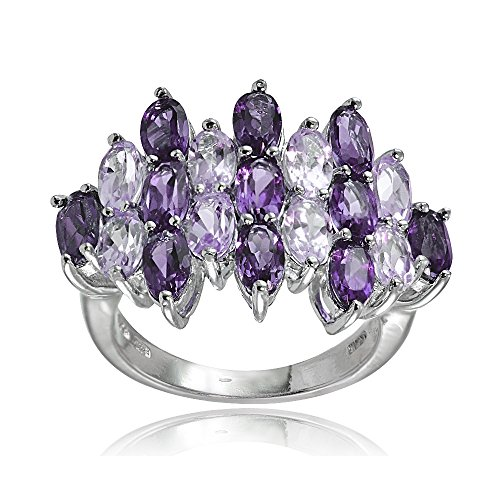Sterling Silver Genuine African Amethyst and Amethyst Oval-Cut Cluster Ring