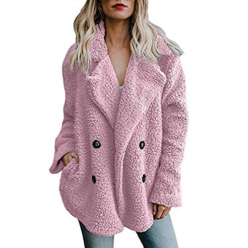 TOTOD Women Warm Thick Coat Plus Size Plush Lapel Button Up Parka Outwear Jacket Overcoat with Pocket 9 Color Pink