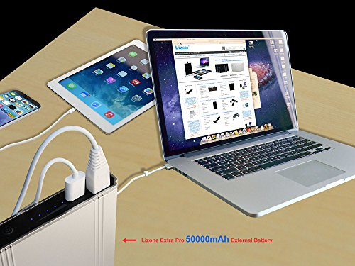Lizone 50000mAh Extra Pro External Battery for Apple MacBook MacBook Pro MacBook Air USB QC Charger for Apple New MacBook 12 iPad iPhone 7 7 plus SE 6 6S Plus 5S 5C 5 4 Samsung HTC and more -Silver by Lizone (Image #2)