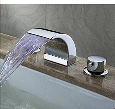 Senlesen Deck Mount Double Handles Led Waterfall Contemporary Widespread Bathroom Sink Faucet Chrome Finish Led Water Flow Powered Temperature Sensitive Shower Faucets