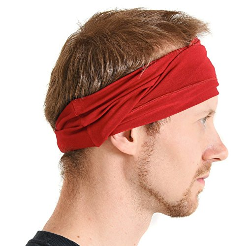 CHARM mens Elastic Bandana Headband Japanese Long Hair Dreads Head wrap Red