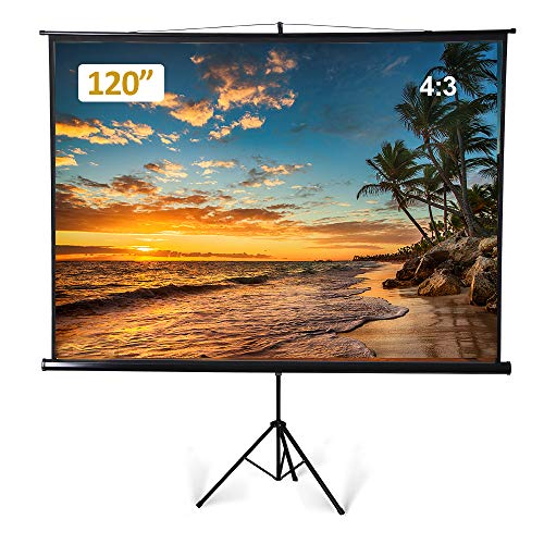 Large Portable Projector Screen with Tripod Stand, 120 inch Diagonal 4:3 Indoor Outdoor Movie Screen Anti-Crease Projection Screen for Home Cinema Theater Office Presentation