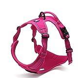 OCSOSO Dog Outdoor Harness Reflective Design for Medium or Large Dog No Pull Best Front Range Pet Vest (L(Chest 27-32″), Rose Red)