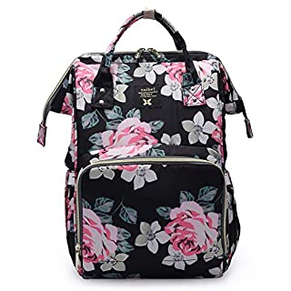 Floral Diaper Bag for Girl Mom Baby Nappy Maternity Bag Changing Organizer, Black