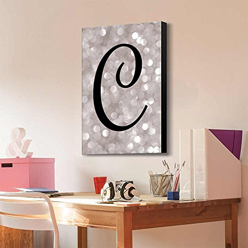 The Letter C in Brush Stroke Cursive on a Champagne Colored Bokeh Background Romantic Elegant Decor