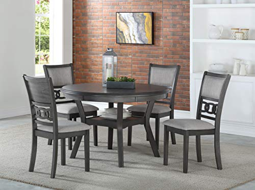 New Classic Furniture D1701-50S-GRY Gia Round Dining Set, Gray