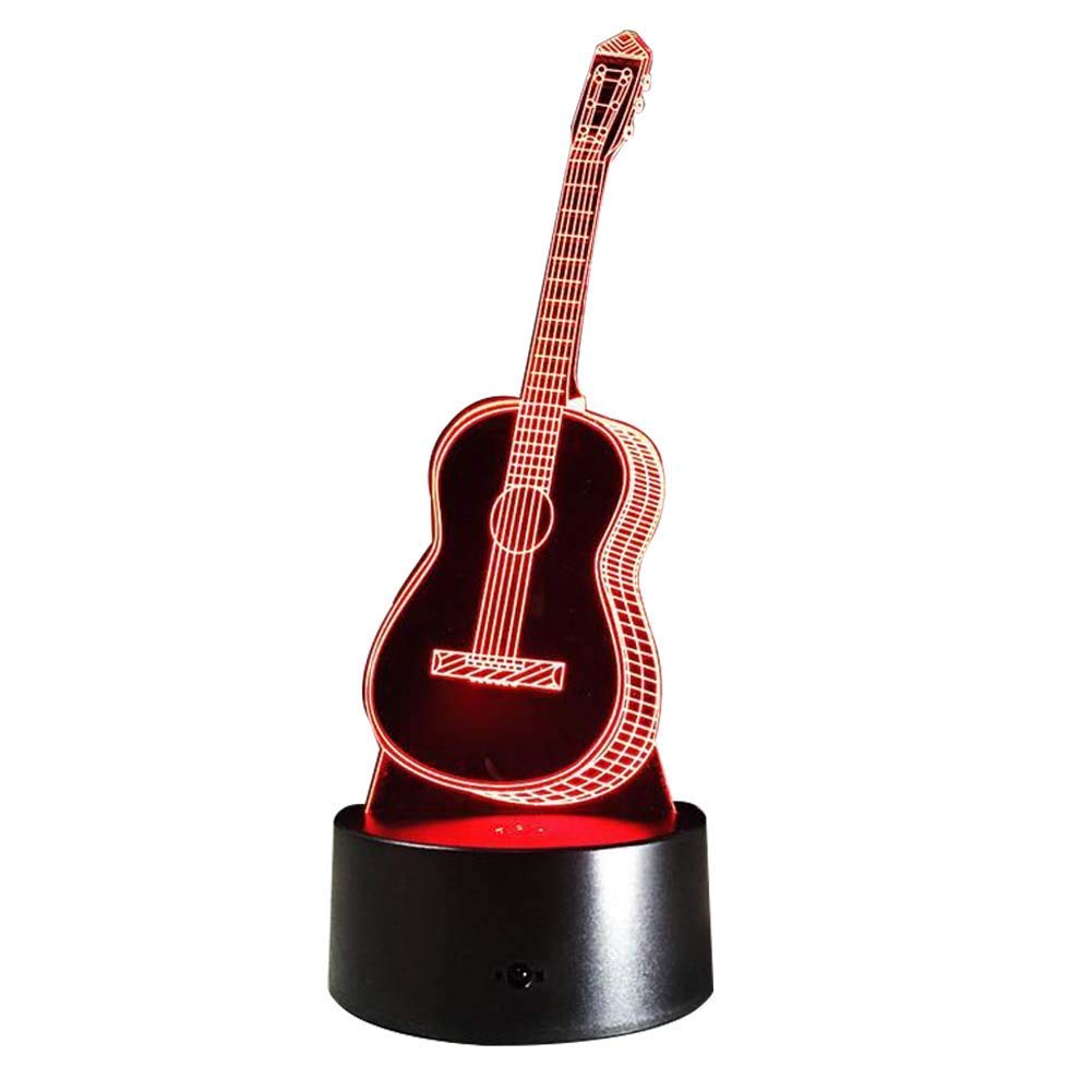Novelty Lamp, Optical Illusion Small Guitar Night Light 3D LED Lamp, USB Powered an Ideal Gift for Children's Friends and Family,Ambient Light