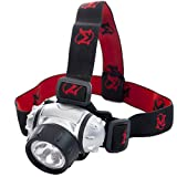 LED Hands-free Headlamp By Mhil(TM) Battery Powered Flashlight / Headlight Great for Camping, Hiking, Working in the Dark, Using Without Hands Adjustable 3-way Light & Adjustable Head Strap