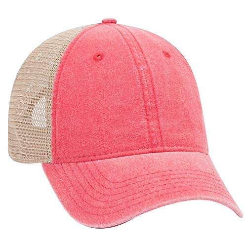 OTTO 6 Panel Garment Washed Pigment Dyed Superior Cotton Twill w/Soft Polyester Mesh Back Low Profile Cap - Red/Red/KHA