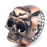 SMTSMT Unisex Retro Vintage Finger Skull Ring Watch Clamshell Watch