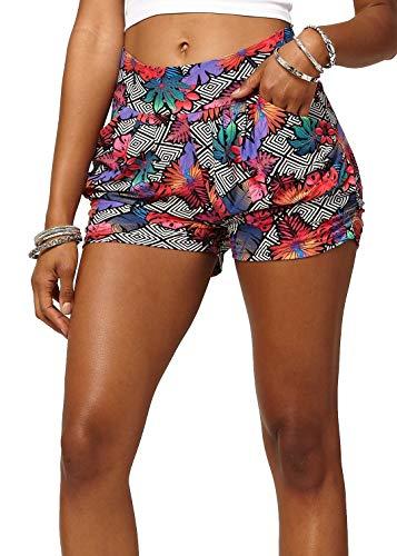 (Premium Ultra Soft Harem High Waisted Shorts for Women with Pockets - Tropic Thunder - Large/X-Large (12-18) - NHS-J304-LX)