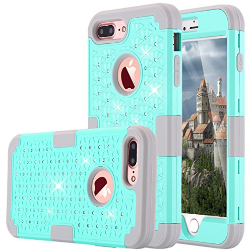 LONTECT iPhone 7 Plus Case, Hybrid Heavy Duty Shockproof Diamond Studded Bling Rhinestone Case with Dual Layer [Hard PC+ Soft Silicone] Impact Protection for Apple iPhone 7 Plus - Teal/Grey