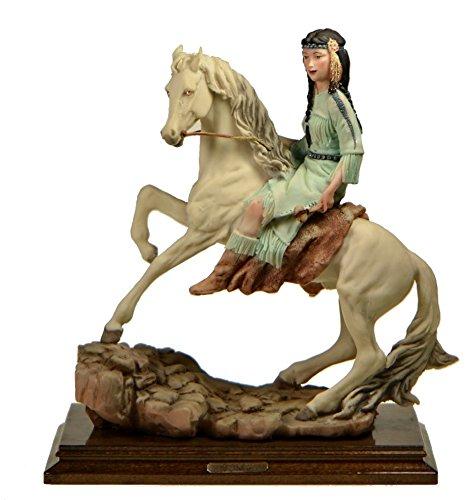 - Bren New York Capodimonte Figurine Indian Maiden On Horse Dear Sculpture