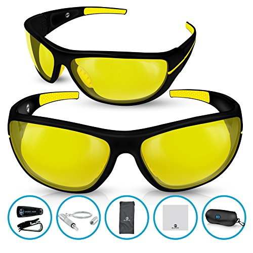 BLUPOND CHOPPER Polarized Night Driving Glasses - Shooting Baseball Cycling Fishing Sunglasses with Anti-Glare HD vision & 5 IN 1 Accessories Set